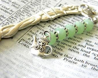 Teapot Bookmark with Mint Green Glass Beads Silver Color Shepherd Hook Bookmark Tea Design