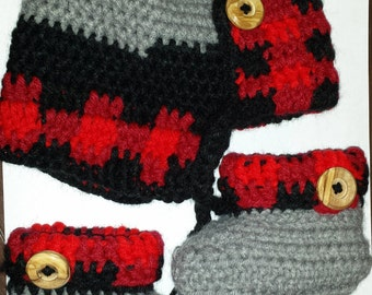 Idaho Lumberjack Plaid Trapper Hat and Baby Booties