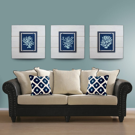 Nice SALECoral Wall Art Set Of 3 White Framed 8x10 Xtra Large