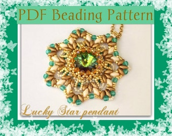 DIY Beading pattern Lucky Star pendant with superDuo beads / PDF tutorial with detailed instructions, images and diagrams