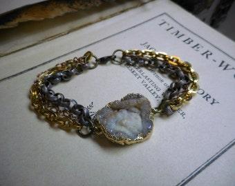 The Supernova Bracelet. Gold Plated Druzy & Chunky Chain Boho Bracelet