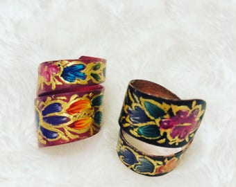 Copper ring/ Hand painted ring