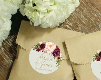 24 Paper Favor Bags - Marsala Label | Wedding Favor Bags | Bridal Shower Favor Bags | Kraft Favor Bags | Baby Shower Favor | Floral Labels