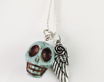 Skull and wing necklace, angel wing Necklace, skull head necklace, guardian angel necklace, unique and cool chain, Harley, Skull Tattoo