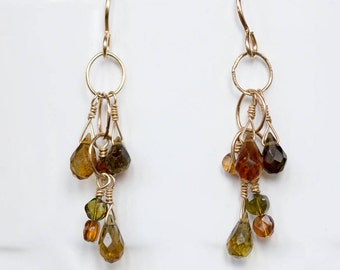 tourmaline briolette dangle earrings gold fill earrings beaded jewelry gifts for her handmade jewelry