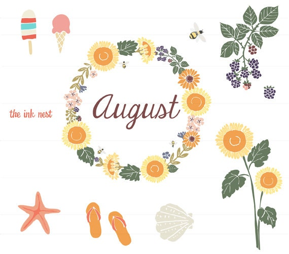 CLIP ART August for commercial and personal use