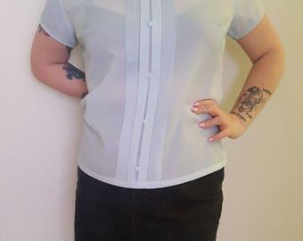 1960s vintage blouse - lightblue - plussize - XL