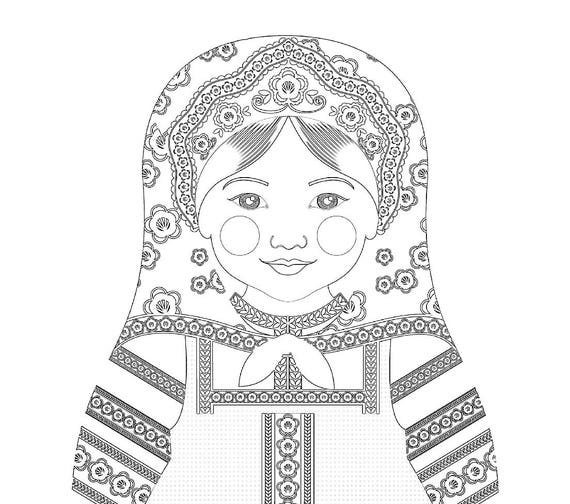 Russian Doll Traditional Dress Coloring Page Printable Matryoshka