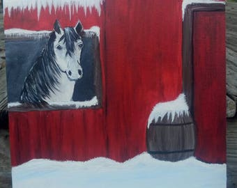 Horse in the Barn Winter Scene