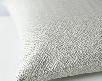 White and gray chenille key geometric decorative pillow cover