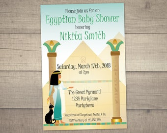 Egyptian Baby Shower Invitation, Cleopatra Invitation, Jewel of the Nile Invite, Party on the Nile - with FREE Thank you. Digital File