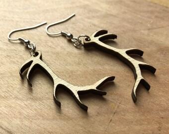 Wood Antler Earrings- Stag Earrings- Laser Engraved
