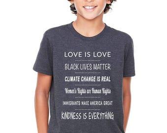Liberal Kids T-Shirt, Black Lives Matter Kids, Feminist Kid, Activist Kid, Climate Change is Real Kids, Kindness is Everything