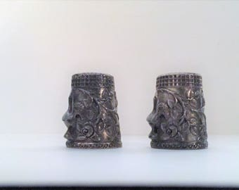 Pair of Silver Thimbles with Portuguese-style rooster