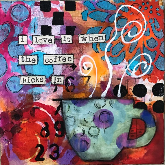 Original Art on Wooden Panel for Coffee Lovers Abstract Whimsical Colorful