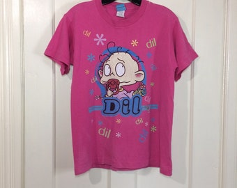 1990s Rugrats Dil character cartoon Nickelodeon TV show t-shirt Kids' size XL 18x24 pink baby