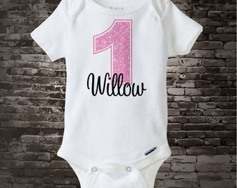 Baby Girls First Birthday Onesie, Light Pink 1st Birthday Shirt, Personalized Girls Birthday Onesie, Light Pink Age and Name 04122012b