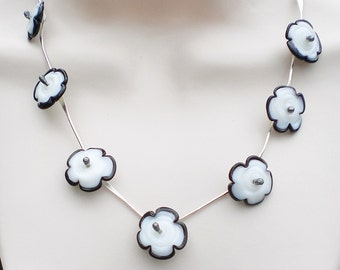 One-of-A- Kind Flowers on Sterling Silver Necklace; Black and White Glass Flowers Necklace; Anniversary Gift for her; Workplace Jewelry