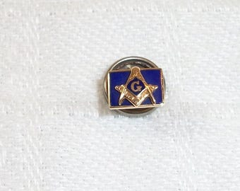 Vintage Masonic Mason Screw Back Lapel Pin 14K Blue Enamel