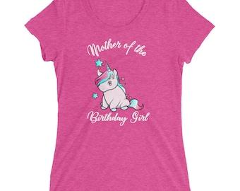 Unicorn Mother of the Birthday Girl Ladies' short sleeve t-shirt