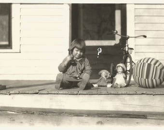 """Vintage Snapshot """"Hello?"""" Toy Telephone Baby Dolls Tricycle Handwritten Question Mark Farmhouse Front Porch Found Vernacular Photo"""