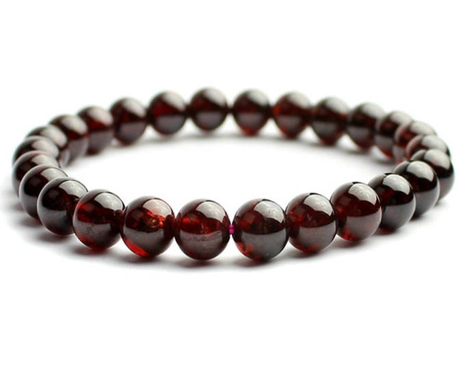 "Garnet Birthstone Anniversary Gemstone Natural  Bracelet 7""- 7.5"" Stretch Bracelet Available in 6- 8- 10 mm Round Beads- Dark Red (Unisex)"