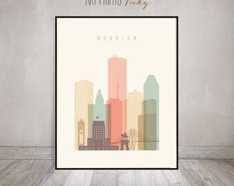 Houston art, Houston skyline, Houston print, Poster, Wall art, Texas, City print, Typography art, Home Decor, Digital Print, ArtPrintsVicky