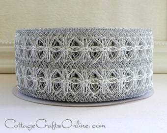 """Wired Ribbon, 2 1/2"""" Silver Metallic Lace Net - THREE YARDS - Offray """"Omnify"""" Christmas, Pewter Grey Mesh Craft Wire Edged Ribbon"""