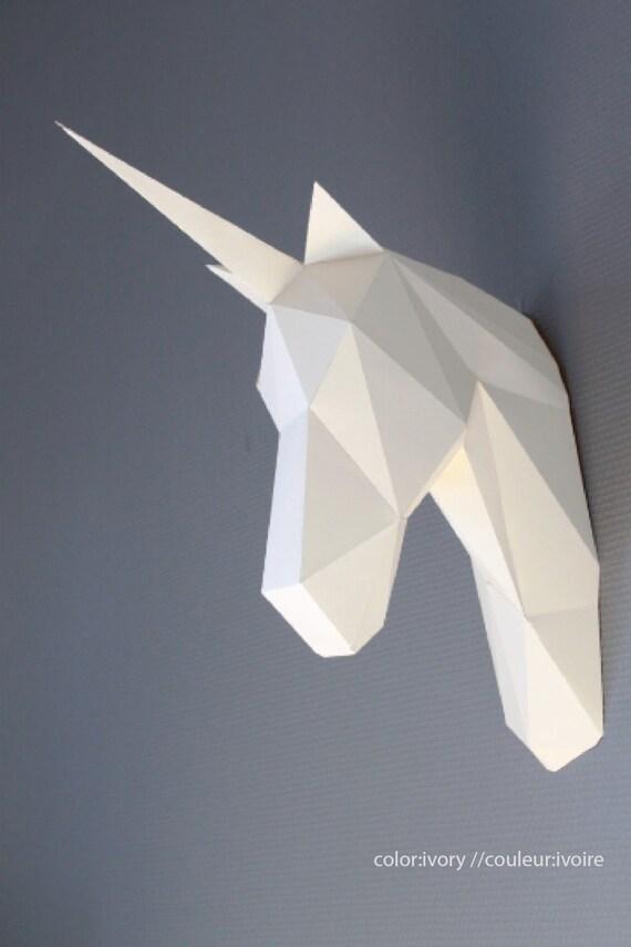 Papercraft UNICORN Head Trophy Faux Taxidermy DIY KIT Animal