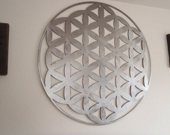 Flower Of Life,Brushed Steel, Metal Wall decor, Metal Art, 50 cm, 20 inches