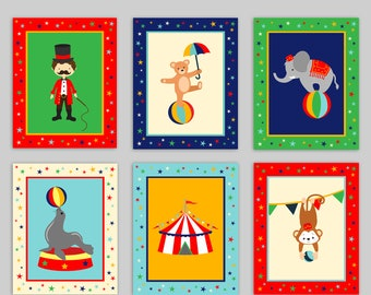 Circus Nursery Art, Circus Art Prints, Kids Circus Decor, Baby Shower Gift, Gender Neutral Baby Room, Toddler Circus Decor, Playroom Decor