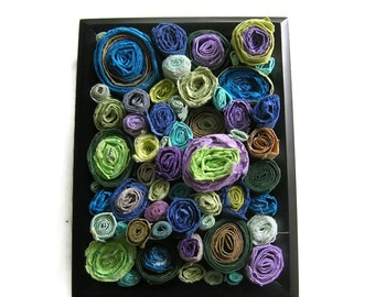 Rolled paper art - Sculpture of handmade paper circles in cool colors - Housewarming, first anniversary gift, masculine art