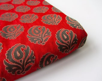 Red dark green flower silk brocade India - for 1/4 yard | fat quarter - fabric nr 649