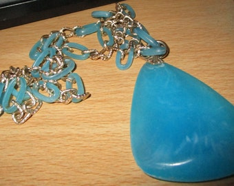 """vintage goldtone 28"""" chain necklace endless with blue links and pendant good condition"""