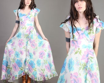 vintage 60s PURPLE + PASTEL floral FLUTTER dress tiered hippie boho empire sun goddess dress 1960s extra small small xs s