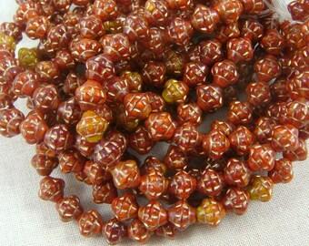 Czech Beads, Czech Glass Beads -  Brick Red, Orange and Gold (SAT/RJ-2731) - 6mm Saturn - Qty. 25