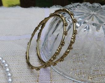 Gold Tone Metal Floral Bangles
