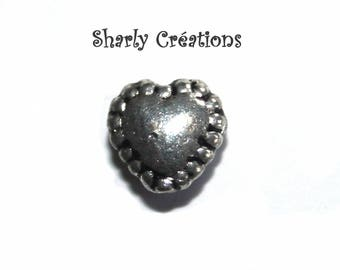 Set of 50 beads silver-plated outdated heart 5x5mm