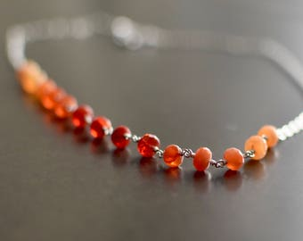 Natural Fire Opal Necklace, October Birthstone Jewelry, Sterling Silver with Heart Clasp, Ready to ship