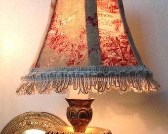 Chandelier Lamp Shade in a beautiful natural and red toile fabric