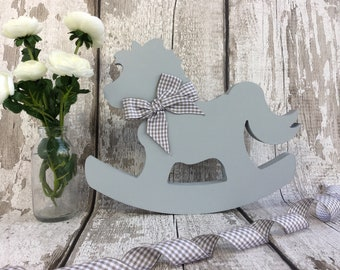 Neutral Baby Shower - Rocking Horse - Neutral Baby Gift - New Baby Gift - Gender Neutral Baby - Personalised Baby Gift - Neutral Nursery