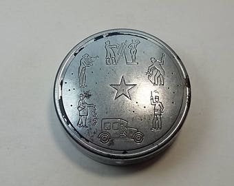 Vintage Round Powder Compact Evening in Paris Bourjois Art Deco