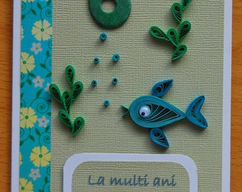 Fish quilling card