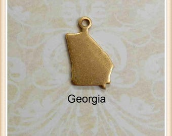 Georgia  BLANK 12 pcs raw brass state charm GA