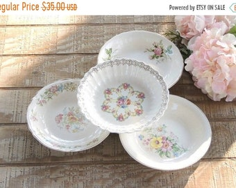 ON SALE Mismatched Coupe Soup Bowls Set of 4 Tea Party Serving Bowls Wedding 1940s Farmhouse Cottage Style China Replacement China
