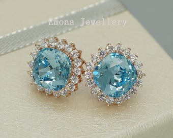 Stud Earrings Aquamarine Earrings Blue Bridesmaids Earrings Crystal Stud Earrings Blue Wedding Earrings Swarovski Earrings something blue