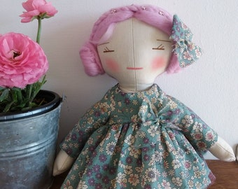 Clarisse doll hair and linen, Merino Wool.