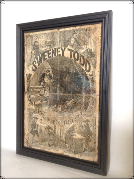 Penny Dreadful Sweeney Todd Reproduction Cover in frame.