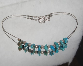 Vintage Sterling Silver Turquoise and Bead Necklace M408