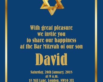 Downloadable/Printable Personalised Bar Mitzvah Invitations